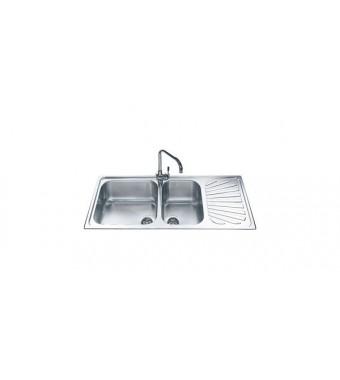 Smeg Lavello a due vasche con gocciolatoio a sinistra SG116S finitura acciaio inox spazzolato da 116 cm