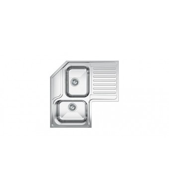 Smeg Lavello angolare a due vasche con gocciolatoio a destra LL2AD finitura acciaio inox spazzolato da 83 cm