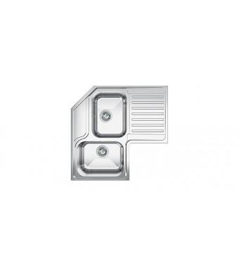 Smeg Lavello angolare a due vasche con gocciolatoio a sinistra LL2AS finitura acciaio inox spazzolato da 83 cm