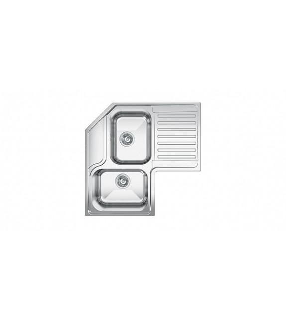 Smeg Lavello angolare a due vasche con gocciolatoio a sinistra LL2AS finitura acciaio inox spazzolato da 83cm