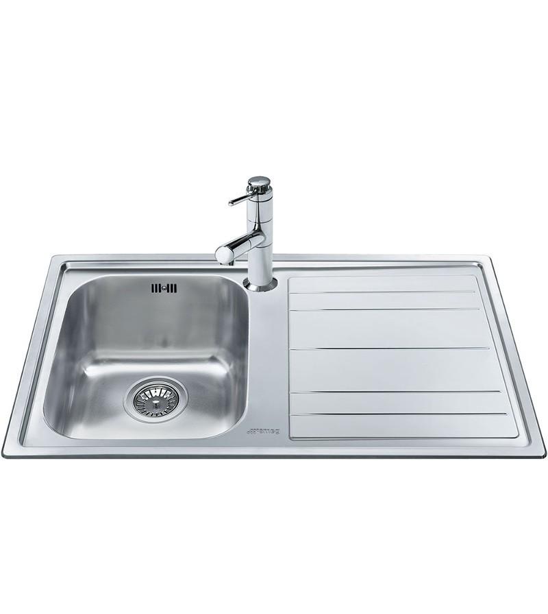 Smeg lavello ad una vasca con gocciolatoio a destra for Lavello acciaio