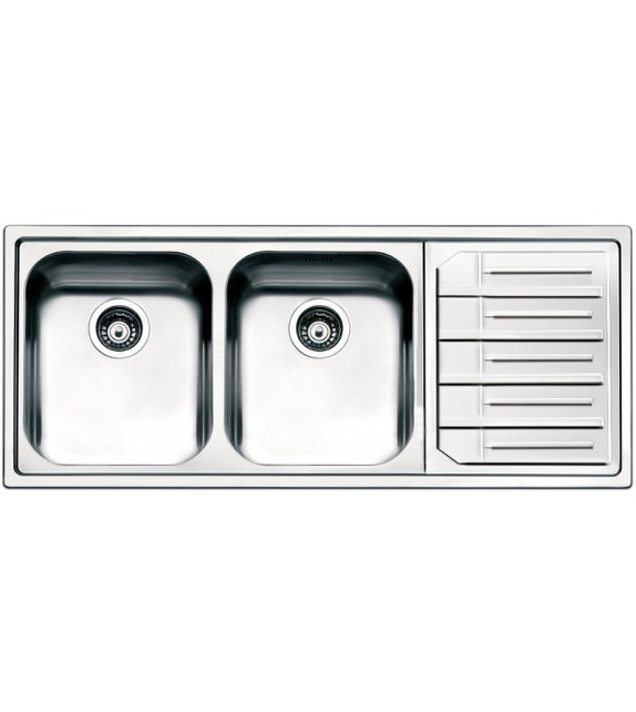 Smeg Lavello a due vasche con gocciolatoio a destra LPE116D finitura acciaio inox spazzolato da 116cm