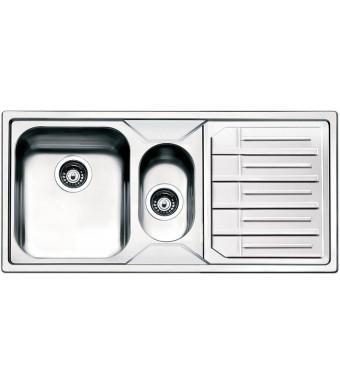 Smeg Lavello ad una vasca con vaschetta e gocciolatoio a sinistra LPE102S finitura acciaio inox spazzolato da 100 cm