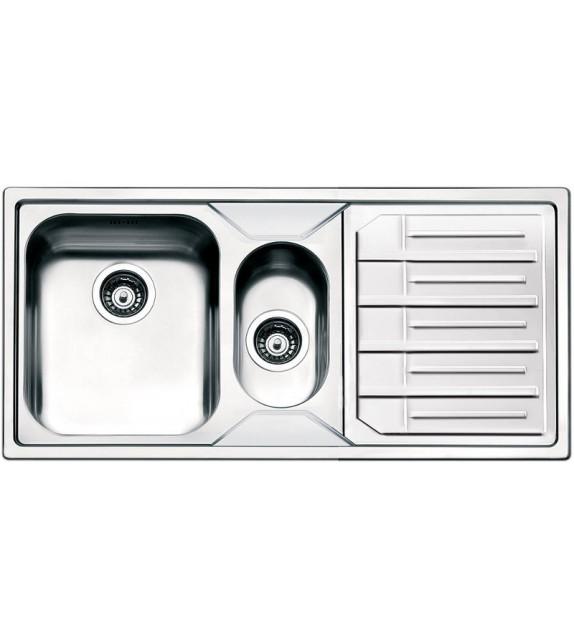 Smeg Lavello ad una vasca con vaschetta e gocciolatoio a sinistra LPE102S finitura acciaio inox spazzolato da 100cm