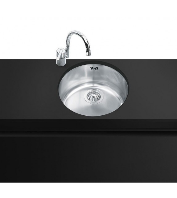 Smeg Lavello circolare ad una vasca UM103P finitura acciaio inox spazzolato da diametro 37,5 cm