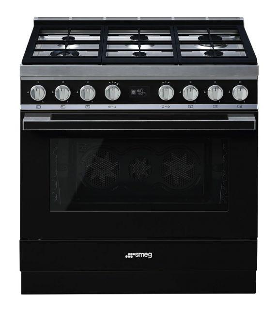 Smeg Cucina CPF9GMBL con 6 zone cottura finitura nero da 90cm