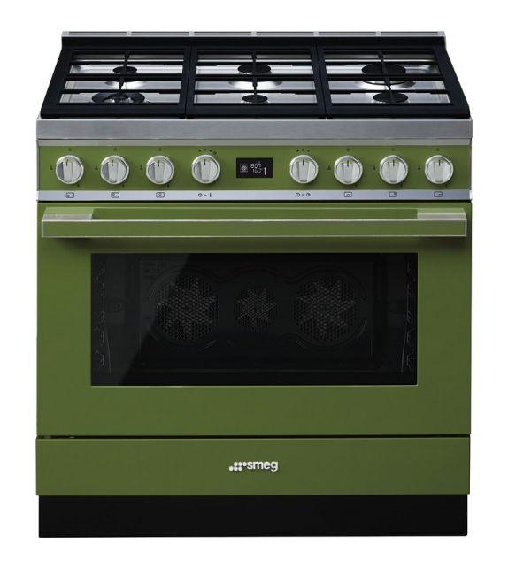 Smeg Cucina CPF9GMOG con 6 zone cottura finitura verde oliva da 90cm