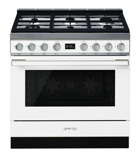 Smeg Cucina CPF9GMWH con 6 zone cottura finitura bianco da 90cm