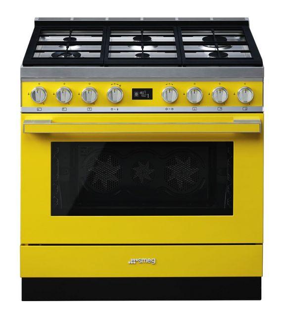 Smeg Cucina CPF9GMYW con 6 zone cottura finitura giallo da 90cm