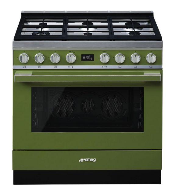 Smeg Cucina CPF9GPOG con 6 zone cottura finitura verde oliva da 90cm