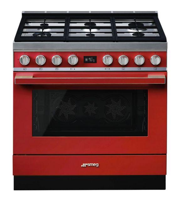 Smeg Cucina CPF9GPR con 6 zone cottura finitura rosso da 90cm