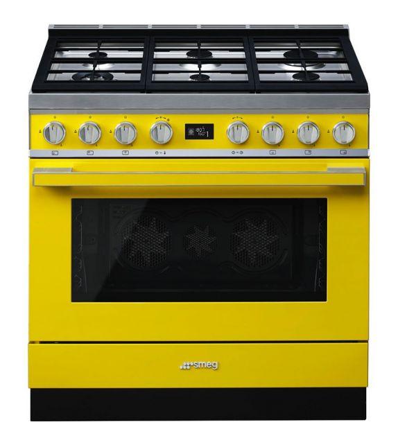 Smeg Cucina CPF9GPYW con 6 zone cottura finitura giallo da 90cm