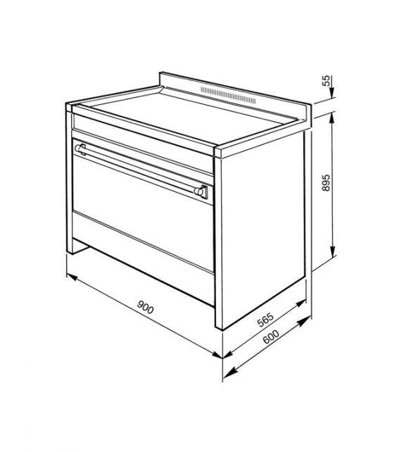 Smeg Cucina A1A-9 con 6 zone cottura finitura acciaio antracite da 90cm