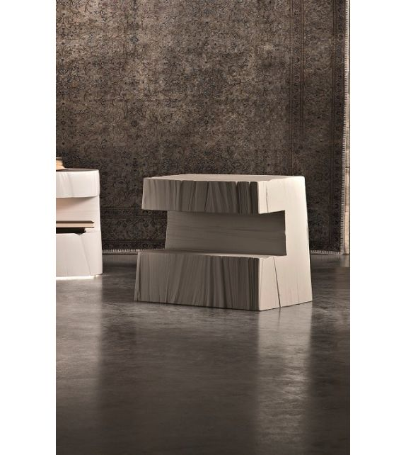 Comodino Tronky Rettangolare grigio con Luce 130x52x70 cm Elite