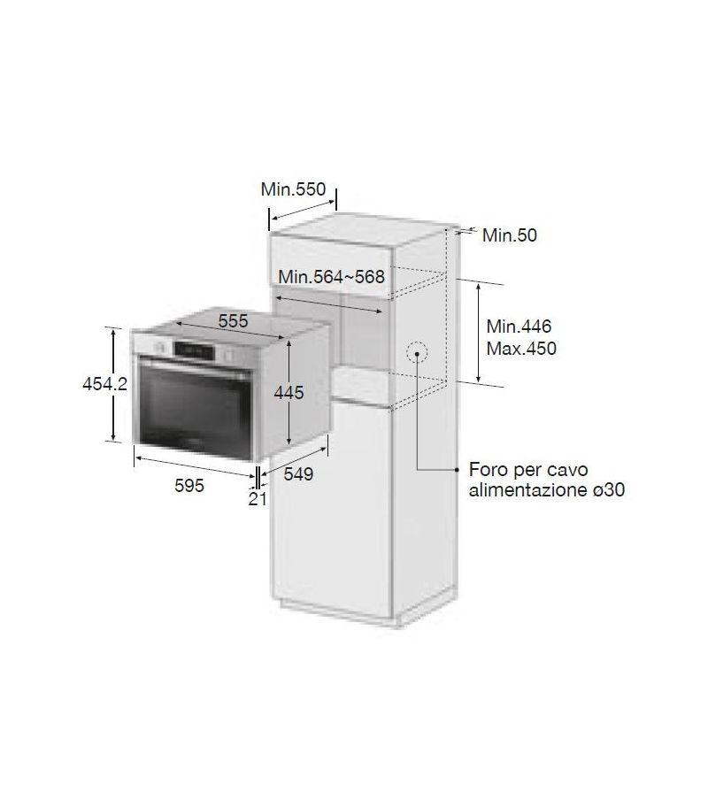 Samsung forno compatto multifunzione da incasso nq50j3530bs finitura inox antimpronta da - Forno da incasso samsung ...