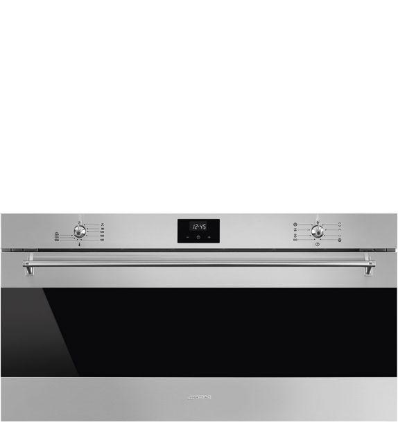 Smeg Forno compatto termoventilato Vapor Clean SFR9300X finitura acciaio inox da 90 cm