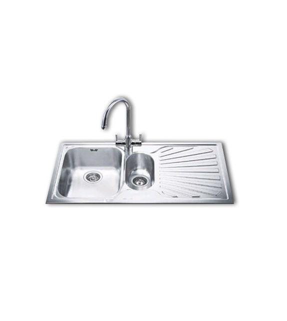 Smeg lavello ad incasso ad Una vasca con Bacinella e Sgocciolatoio SP102D Finitura Acciaio Inox Satinato da 100cm