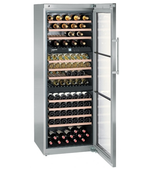Liebherr Cantina vino WTes 5872 con porta in vetro e struttura in acciaio da 70 cm