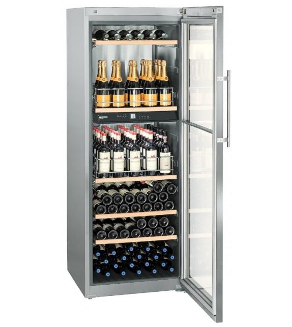 Liebherr Cantina vino WTpes 5972 con porta in vetro e struttura in acciaio da 70 cm