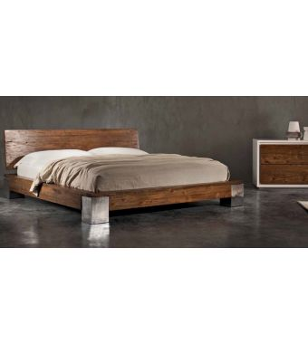 Letto King Size Alki 201x221x85 in Teak d'epoca Elite con piedini in teak d'epoca
