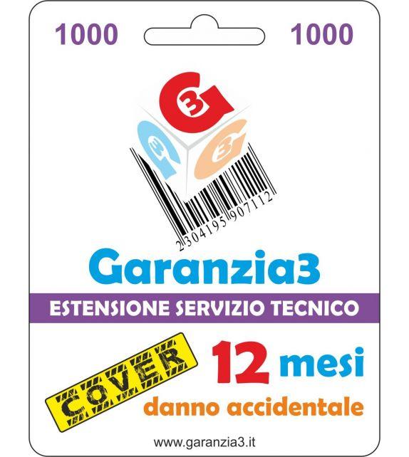Garanzia3 Cover 1000 - Copertura dal danno accidentale per 12 mesi con massimale copertura 1000 euro