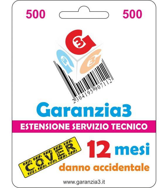 Garanzia3 Cover 500 - Copertura dal danno accidentale per 12 mesi con massimale copertura 500 euro