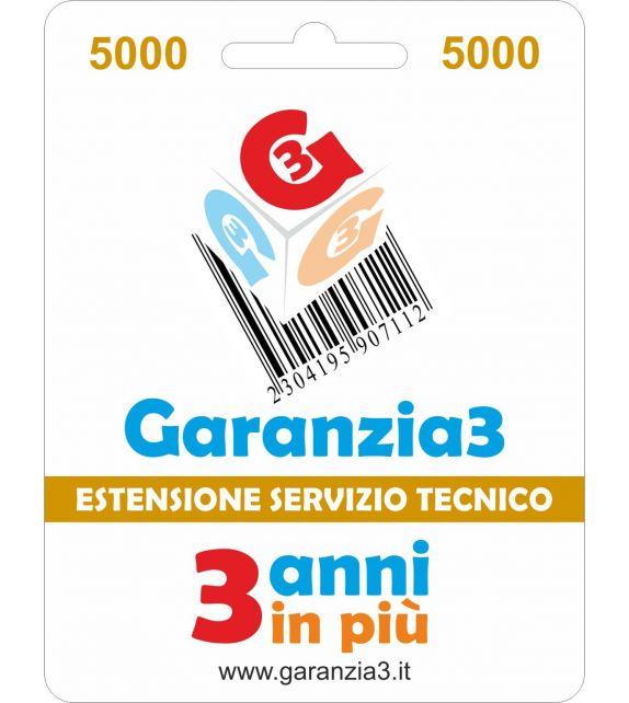 Garanzia3 5000 - Estensione di servizio tecnico di 3 anni in piu' con massimale copertura 5000 euro
