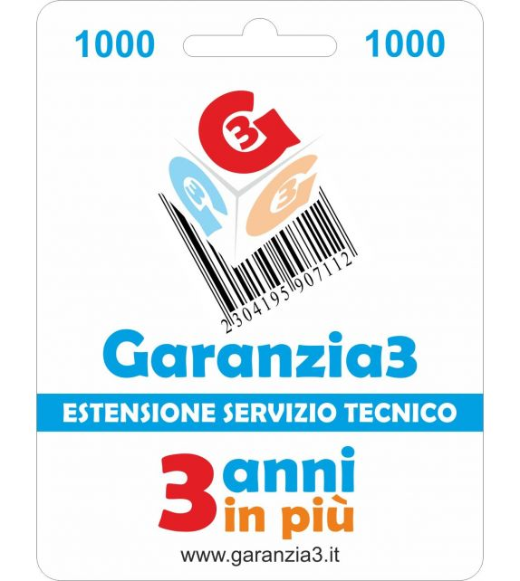 Garanzia3 1000 - Estensione di servizio tecnico di 3 anni in piu' con massimale copertura 1000 euro