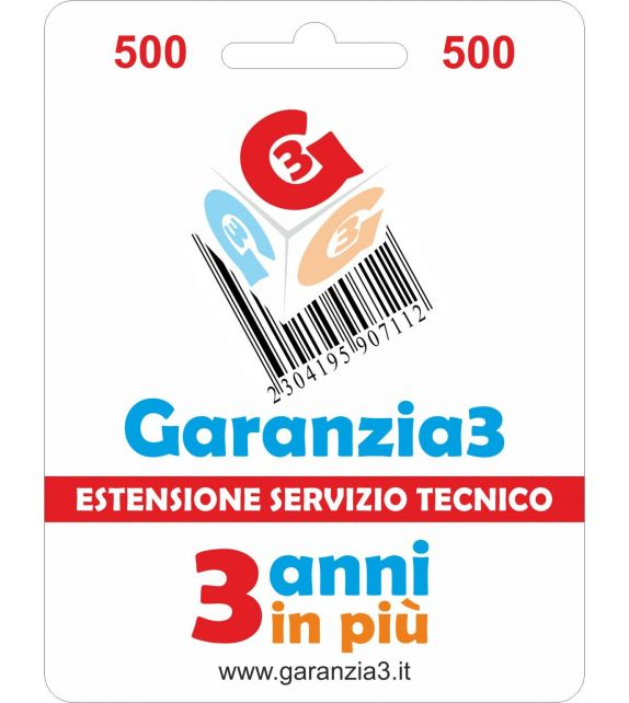 Garanzia3 500 - Estensione di servizio tecnico di 3 anni in piu' con massimale copertura 500 euro