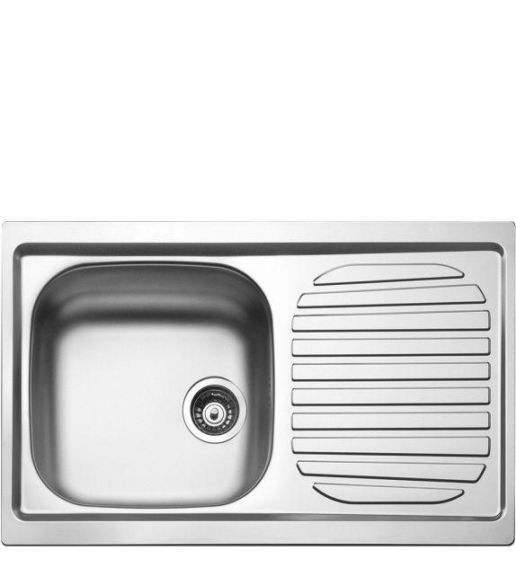 Smeg Lavello ad una vasca con gocciolatoio a destra LYP791D finitura acciaio inox AISI304 da 79 cm