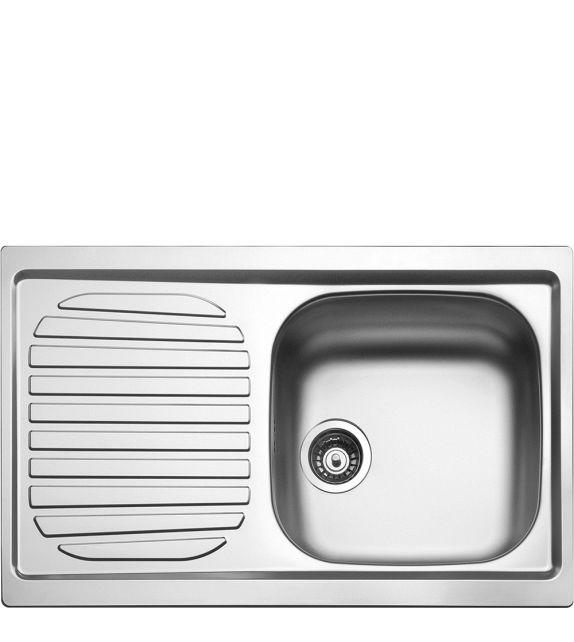 Smeg Lavello ad una vasca con gocciolatoio a sinistra LYP791S finitura acciaio inox AISI304 da 79 cm