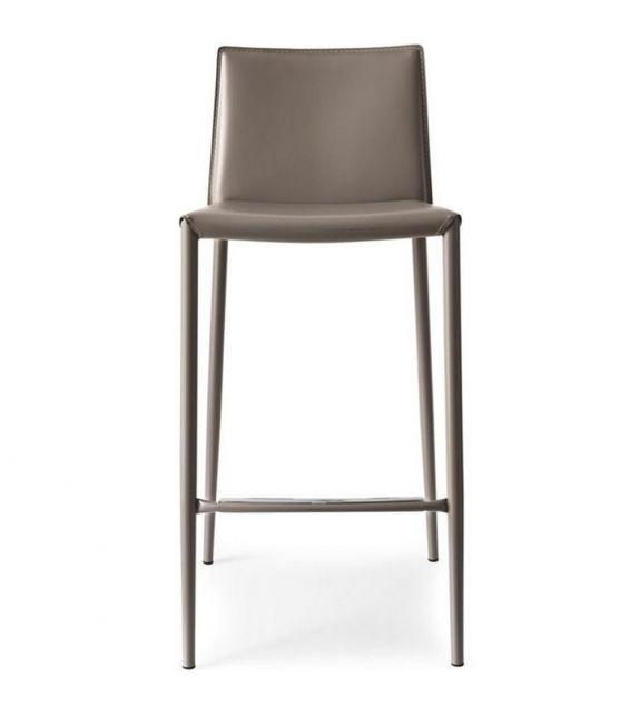 Connubia Sgabello Boheme CB1393 con struttura in metallo e sedile in rigenerato di cuoio da h. 90 cm