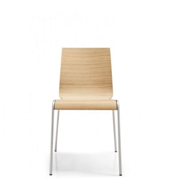Connubia Sedia Online CB102 con struttura in metallo e sedile in multistrato rovere bianco da h. 80 cm