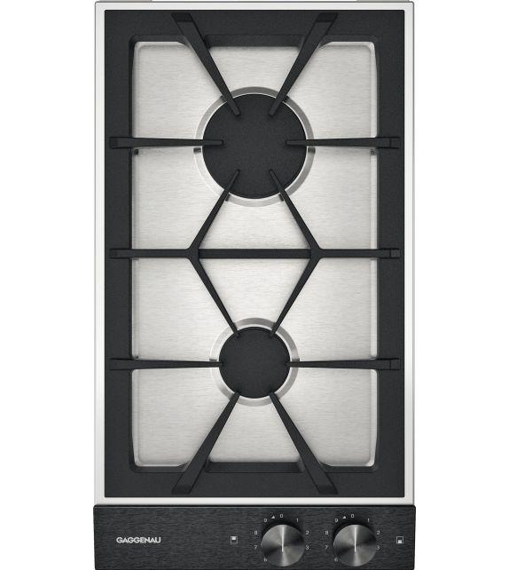 Gaggenau Piano cottura a gas VG 232 120F finitura acciaio inox con panello di controllo nero da 28 cm
