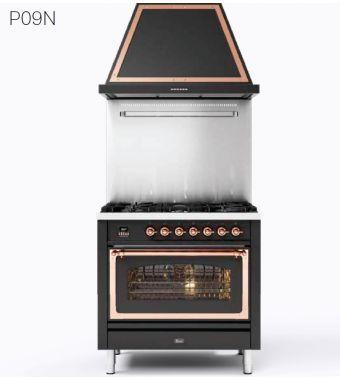 Ilve Cucina P09N Nostalgie P09PNE3 con forno elettrico e piano cottura a 4 fuochi con pescera da 90 cm