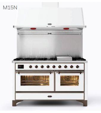 Ilve Cucina M15N Majestic M15FSDNE3 con doppio forno elettrico e piano cottura a 7 fuochi con fry top e coupe de feu da 151.1 cm