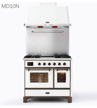 Ilve Cucina MD10N Majestic MD10SDNE3 con doppio forno elettrico e piano cottura a 4 fuochi con coupe de feu da 100 cm