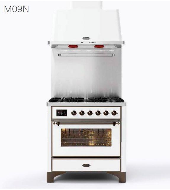 Ilve Cucina M09N Majestic M09IDNE3 con forno elettrico e piano cottura a 4 fuochi e 2 zone induzione da 91.1 cm