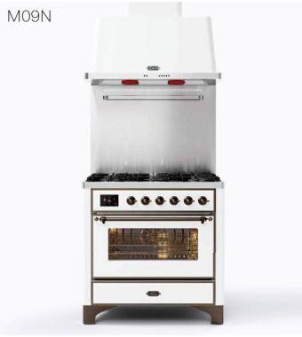Ilve Cucina M09N Majestic M09PDNE3 con forno elettrico e piano cottura a 4 fuochi con pescera da 91.1 cm