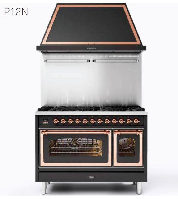 Ilve Cucina P12N Nostalgie P12SNE3 con doppio forno elettrico e piano cottura a 5 fuochi con coupe de feu da 120 cm