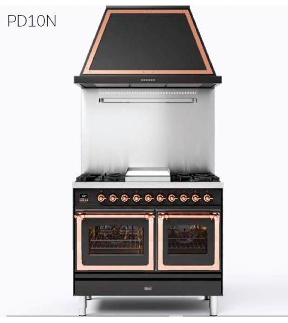 Ilve Cucina PD10N Nostalgie PD10SNE3 con doppio forno elettrico e piano cottura a 4 fuochi con coupe de feu da 100 cm