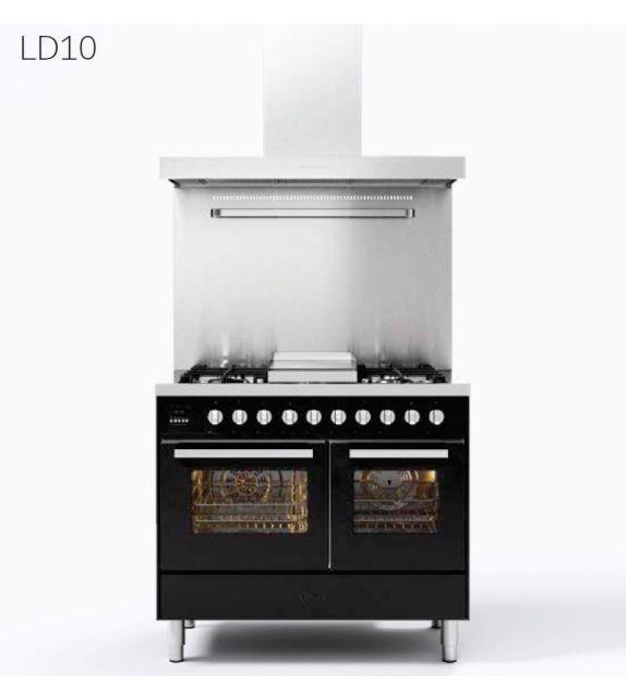 Ilve Cucina LD10 Pro Line LD10FWMP con forno elettrico e piano cottura a 6 fuochi con fry top da 100 cm