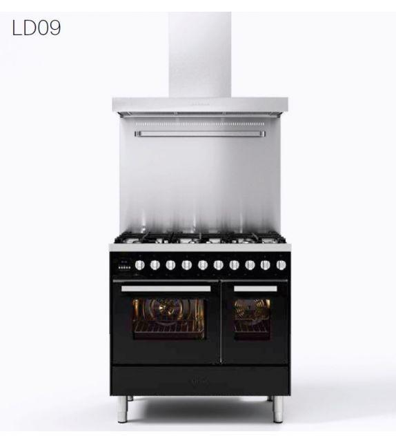 Ilve Cucina LD09 Pro Line LD09FWMP con forno elettrico e piano cottura a 6 fuochi con fry top da 90 cm