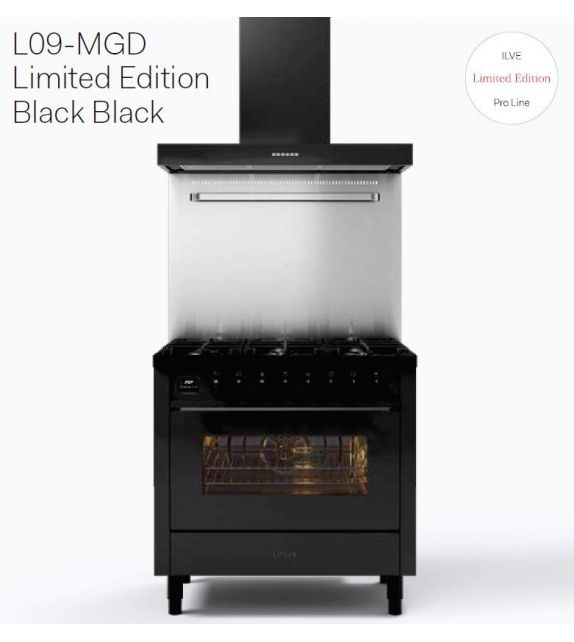 Ilve Cucina L09-MGD Pro Line L096WMP con forno elettrico e piano cottura a 6 fuochi da 90 cm - Limited Edition Black Black