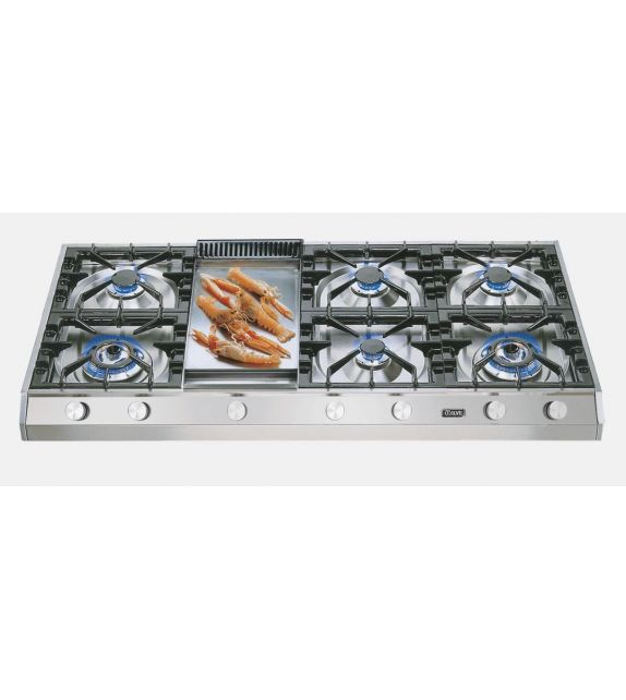 Ilve Piano cottura a gas a 7 fuochi con fry top da appoggio HP1265 Professional Plus HP1265FD in acciaio inox da 120 cm