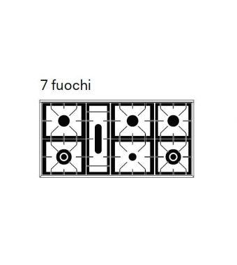 Ilve Piano cottura a gas a 7 fuochi da appoggio HP1265 Professional Plus HP1265-7D in acciaio inox da 120 cm
