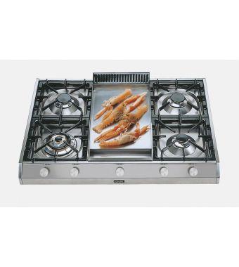 Ilve Piano cottura a gas a 5 fuochi con fry top da appoggio HP965 Professional Plus HP965FD in acciaio inox da 90 cm