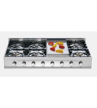 Ilve Piano cottura a gas a 7 fuochi con fry top da appoggio HP120 Professional Plus HP120FD in acciaio inox da 120 cm