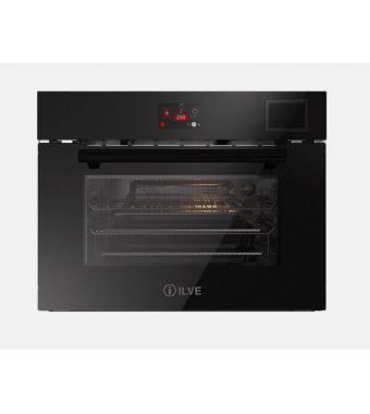 Ilve Forno compatto trivalente Ultracombi Professional Plus 645STCHSW in vetro temperato nero da 60 cm