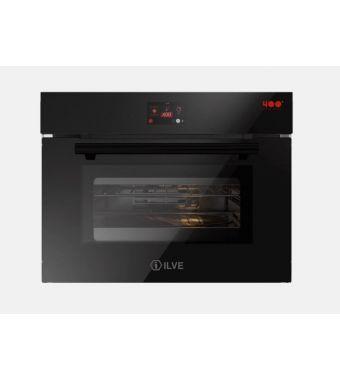 Ilve Forno elettronico compatto multifunzione Professional Plus 645SZTCT4 in vetro temperato nero da 60 cm